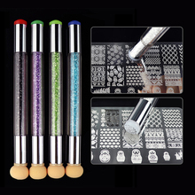 Renkli çift uçlu tırnak sanat fırçaları Stamper sünger DIY Rhinestone kolu fırça Blooming UV jel kalem