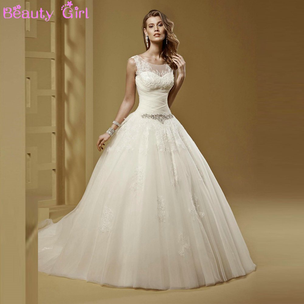Fantastic Ball Gown Wedding Dresses Sheer Top Scoop Liques Beaded Bow Court Train Long Bridal In From Weddings Events On