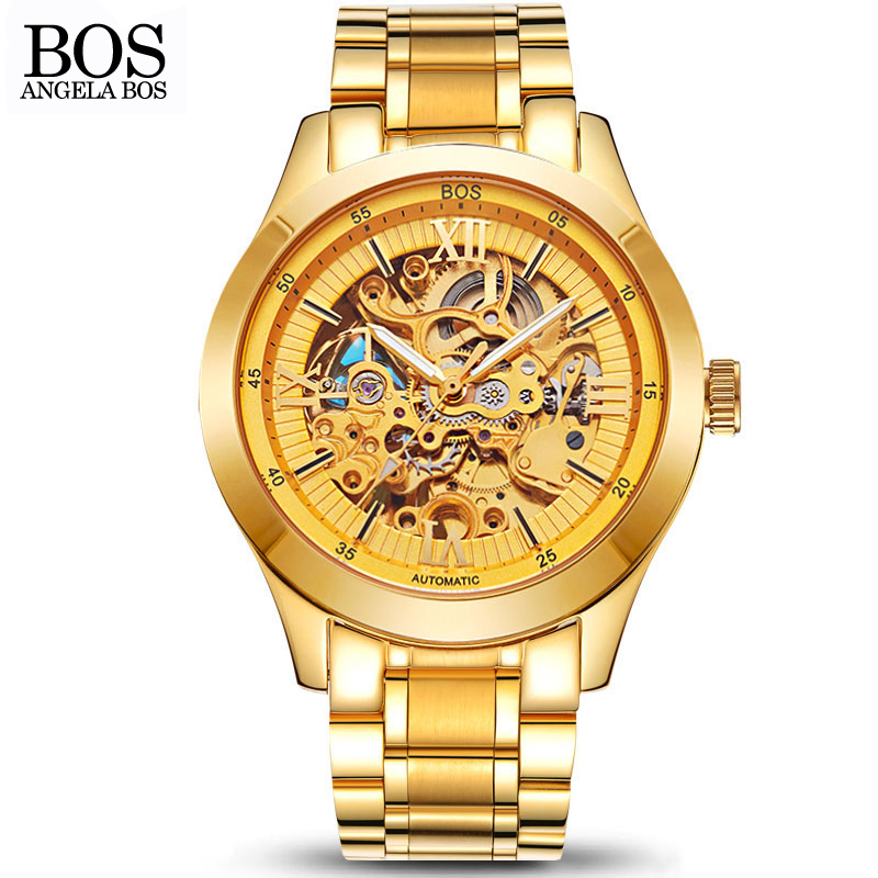 ANGELA BOS Gold Stainless Steel Skeleton Watch Men Mechanical Automatic Waterproof Luxury Watch Men Famous Brand Wristwatches automatic self wind mechanical wristwatches men s watch luxury famous brand stainless steel skeleton watch men outdoor clock