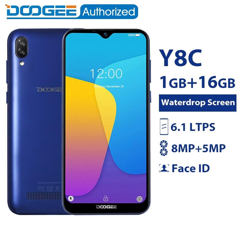 DOOGEE Y8c 6.1 polegada 19:9 LTPS Tela Waterdrop 16 MTK6580 1 do Smartphone Android 8.1 GB RAM GB ROM 3400 mAh dual SIM WCDMA 8MP + 5MP