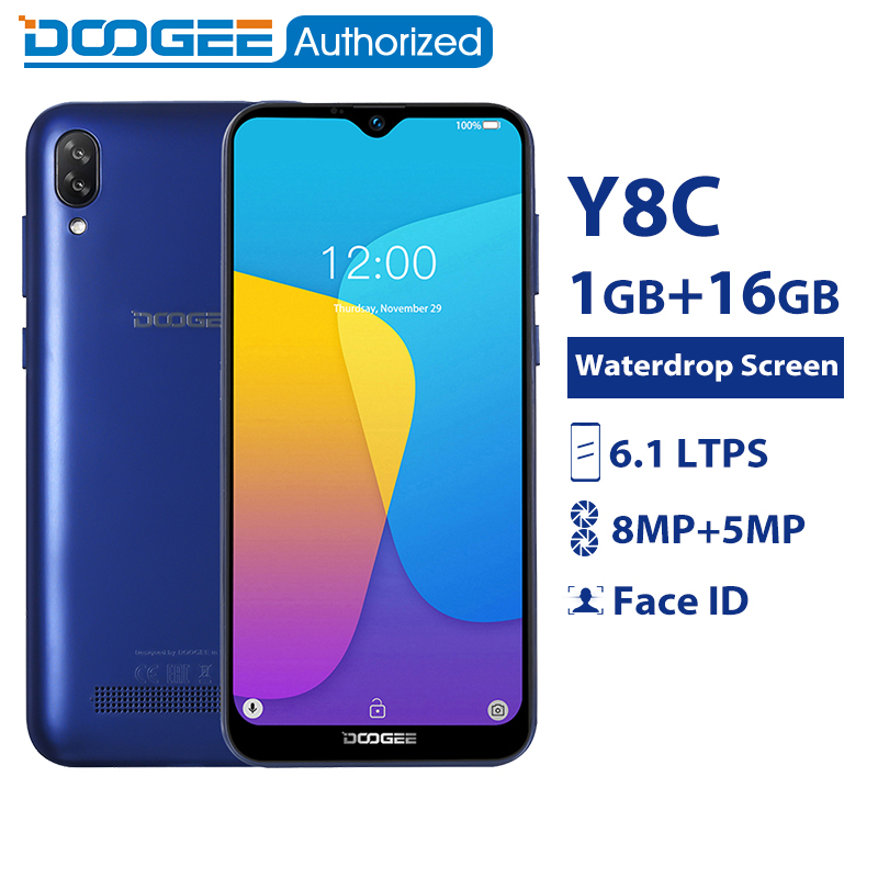 DOOGEE Y8c 6.1 pouces 19:9 Waterdrop LTPS écran Smartphone Android 8.1 MTK6580 1 GB RAM 16 GB ROM 3400 mAh double SIM 8MP + 5MP WCDMA