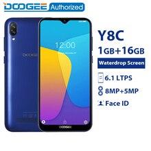DOOGEE Y8c 6,1 дюймов 19:9 в виде капли воды, экран LTPS Смартфон Android 8,1 MTK6580 1 ГБ Оперативная память 16 Гб Встроенная память 3400 Max две sim карты 8MP + 5MP WCDMA