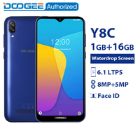 Doogee Y8C 1GB 16GB Face Unlocked Mobile Phone Android 8.1 Cell Phone Waterdrop Screen 6.1'' 19:9 3400mah 3G WCDMA Smartphone