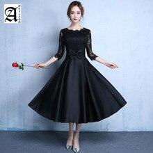 2019 Lace new fashion Black color plus size Robe De Roiree party short evening dresses long