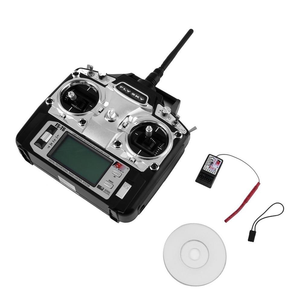 Tüketici Elektroniği'ten Uçuş Kumanda Birimi'de RCmall Flysky FS T6 Radyo Kontrol 2.4G 6 Kanal Verici + Alıcı için RC Helikopter DR0404 title=