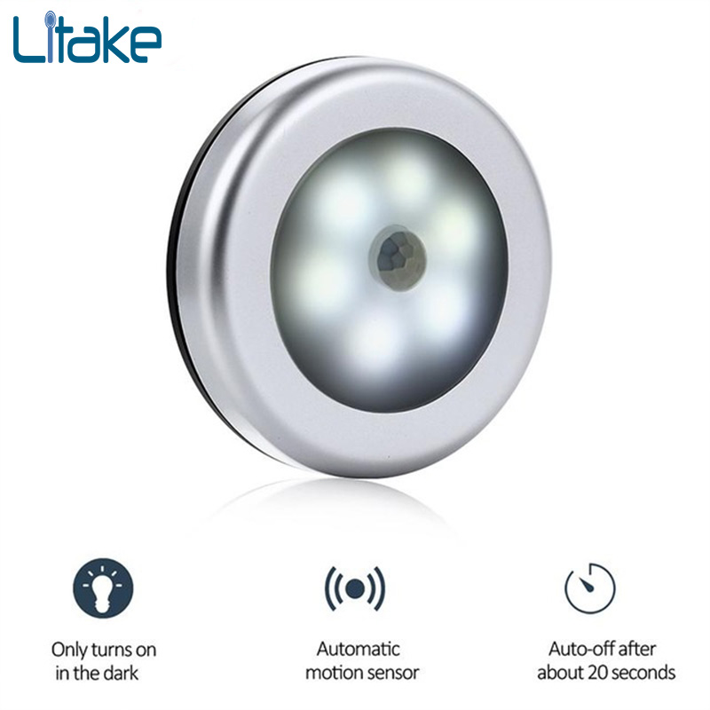 Litake Motion Sensor 6 Led Night Light Magnetic Wireless PIR Sensor Detector Light Wall Lamp Light Auto On/Off Closet Lamp футболка с полной запечаткой для девочек printio fp pf o[]80