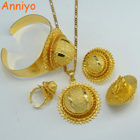 Ethiopian Gold Set Jewelry 24k Gold Plated Pendant Chain Clip Earrings Ring Bangle Bride Wedding Africa
