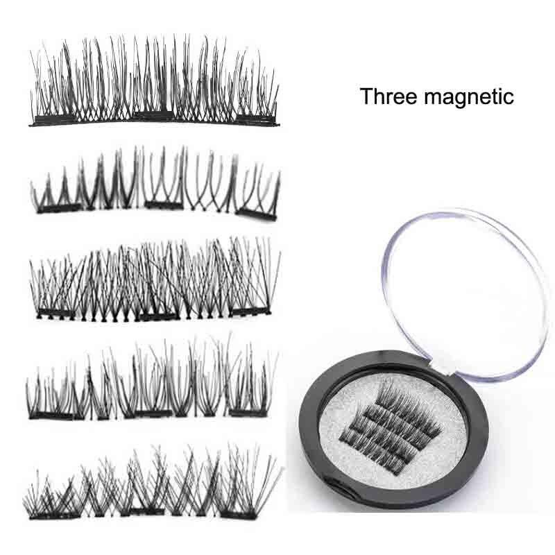 4 PCS/pair three Magnetic false Eyelashes make up 3D Hand Made Eyelashes Extension makeup cilios magneticos eyelash Natural soft