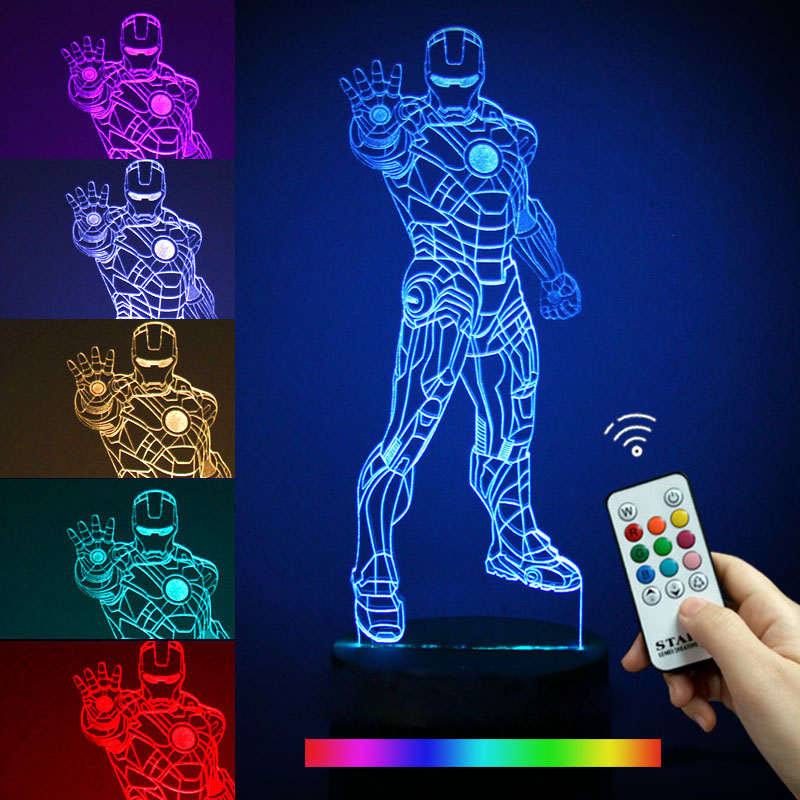 Movie Iron Man 3D Night Light Creative LED Table Lamp 7 Color Changing USB Desk Lamp Children Gift