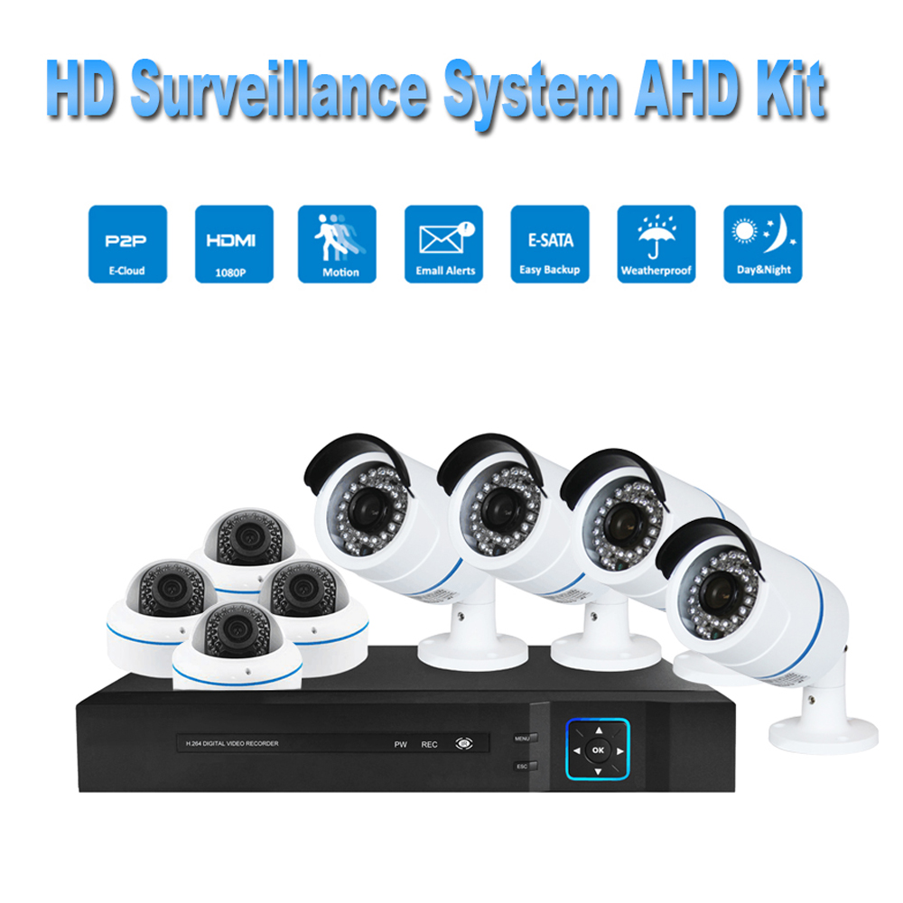 PUAroom 8CH night vision surveillance camera RoHS FCC CE approved H.264 onvif video recording home Security Camera Systems
