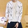 Ropa de los nuevos hombres de la cremallera de la Rebeca 2016 Otoño Moda Hombre Con Capucha Impreso Hoodies Hombres Sudadera Chándal Chaqueta Informal