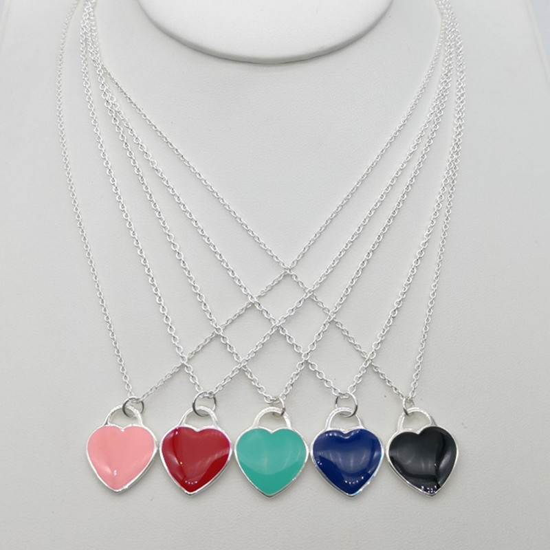 S925 sterling silver fashion popular classic color heart-shaped enamel ladies necklace Nordic charm holiday gift