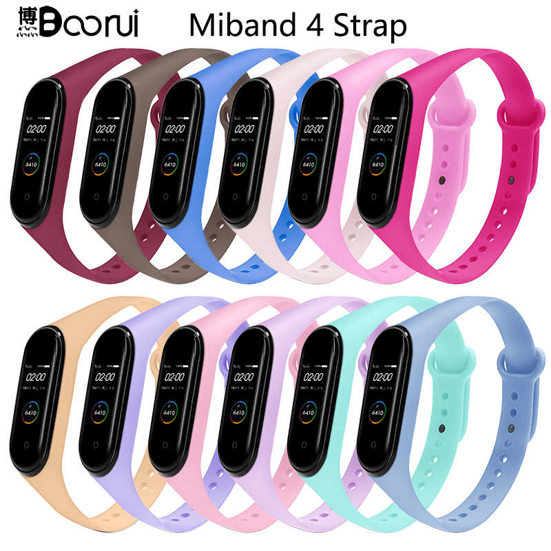 BOORUI for xiaomi mi band 4 strap new fashional colorful miband 4 strap silicone mi band 4 belt replacement for xiaomi mi 4 band