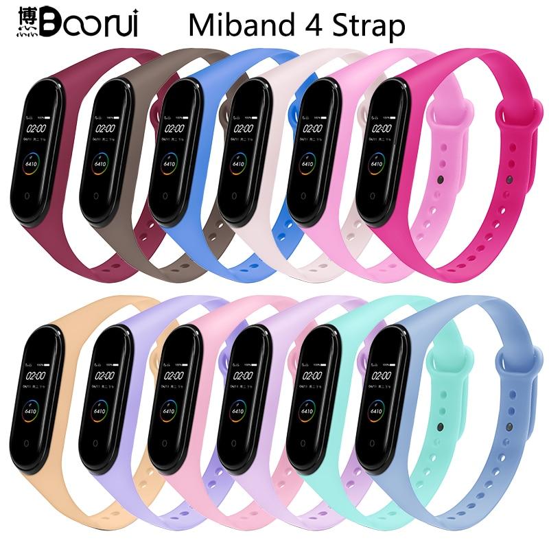 BOORUI for xiaomi mi band 4 strap new fashional colorful miband 4 strap silicone mi band 4 belt replacement for xiaomi mi 4 band(China)