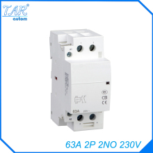 Free shipping high quality 63A  AC 220v 230v 50/60Hz 63A 2NO 2P 2-pole household mini DIN Rail modular AC contactor