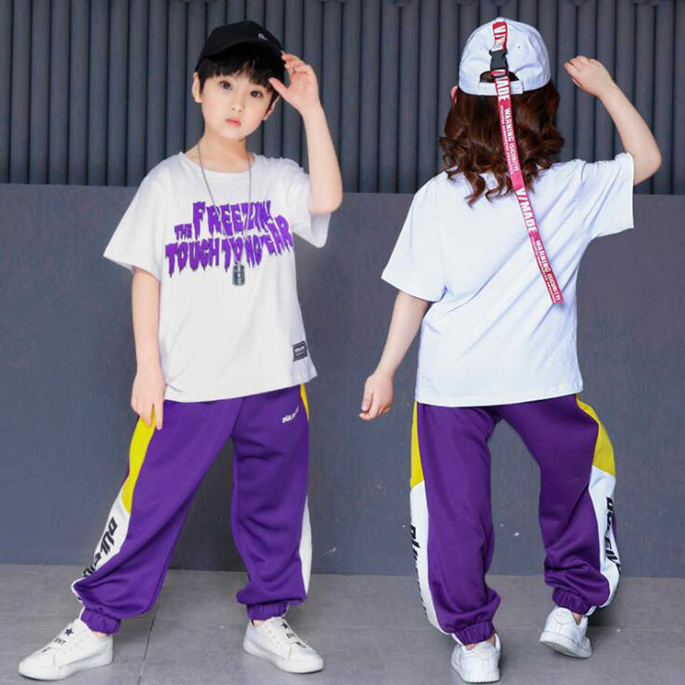 723dae396 Purple Boys Ballroom Hip Hop Jazz Dancing Costumes Clothes Children Party  Stage wear Performance T Shirt