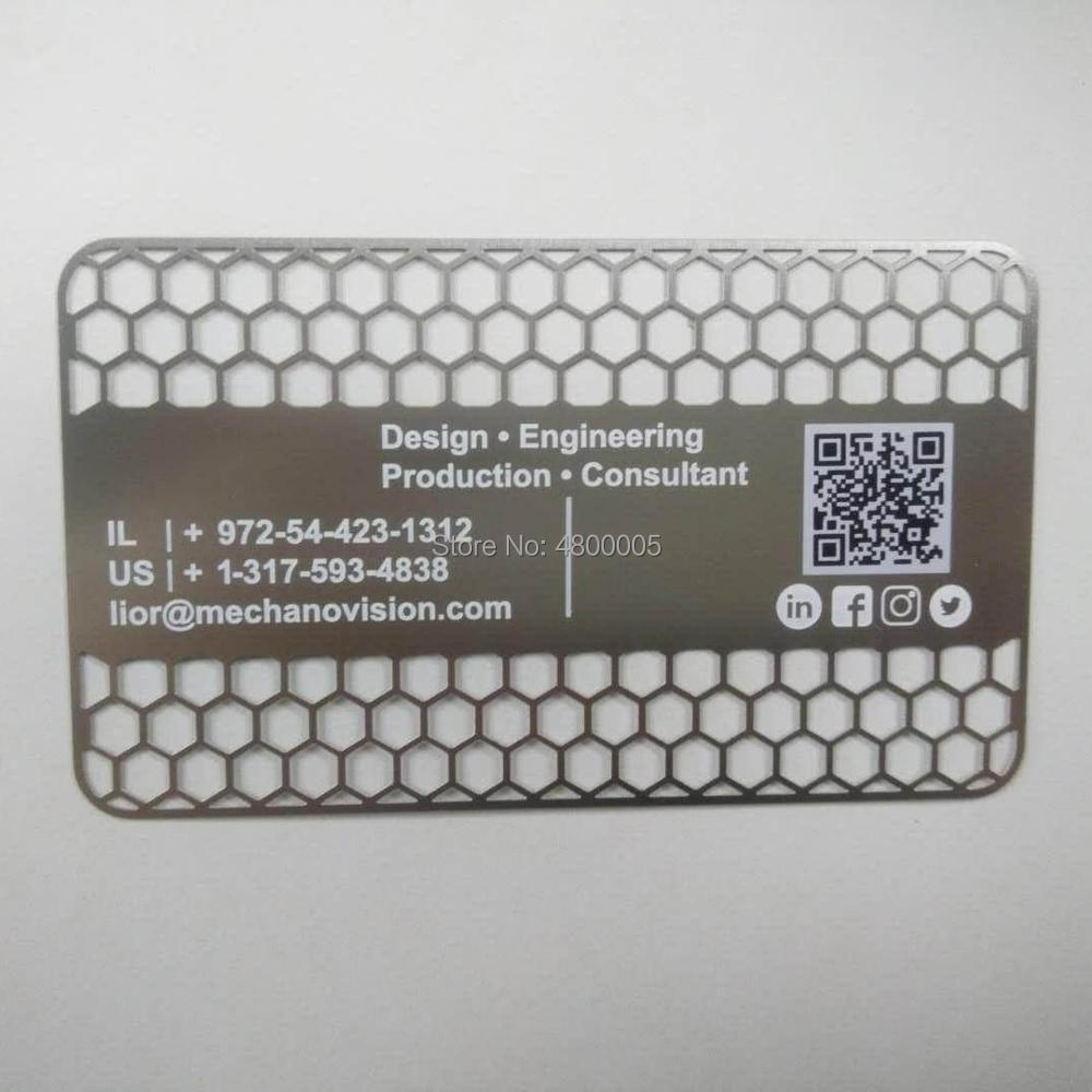 Personalized Stainless Steel Qr Code Metal Card With Business