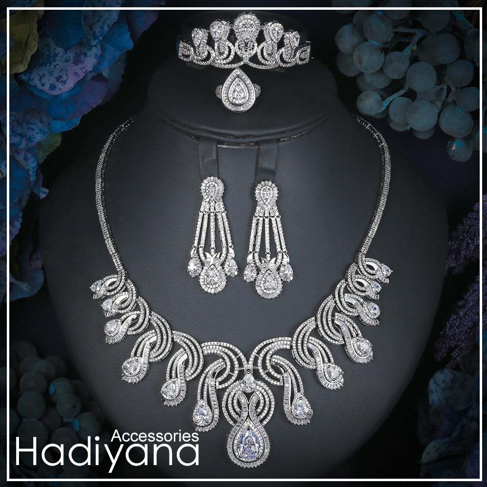 Hadiyana Luxury Big 4pc Jewelry Set With Cubic Zirconia Party Wedding Saudi Arabic Dubai Necklace&Earring&Bangle&Ring Sets CN170