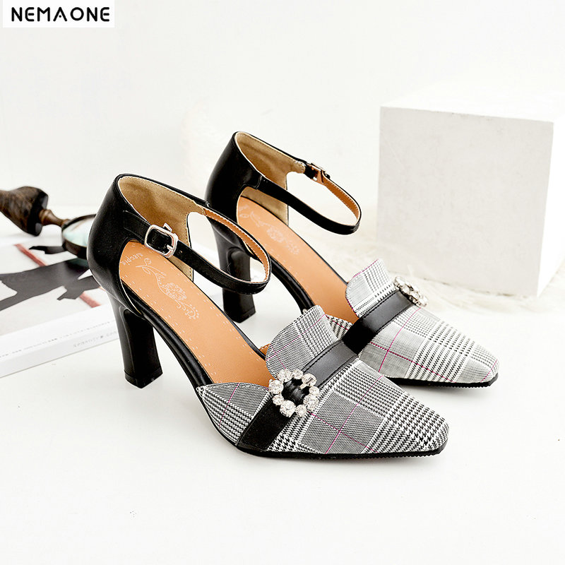 NEMAONE New plaid high heels women pumps poined toe mather shoes office ladies led shoes green beige yellow black