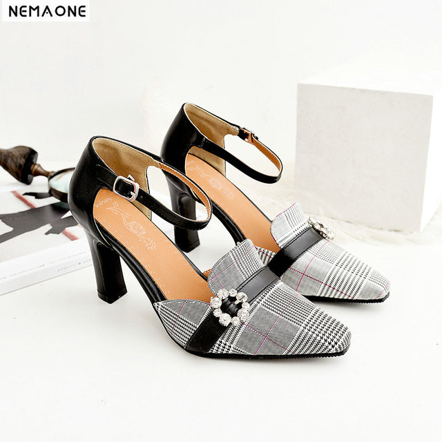 f27a0a15ca4 NEMAONE New plaid high heels women pumps poined toe mather shoes office  ladies led shoes green beige yellow black-in Women's Pumps from Shoes on ...