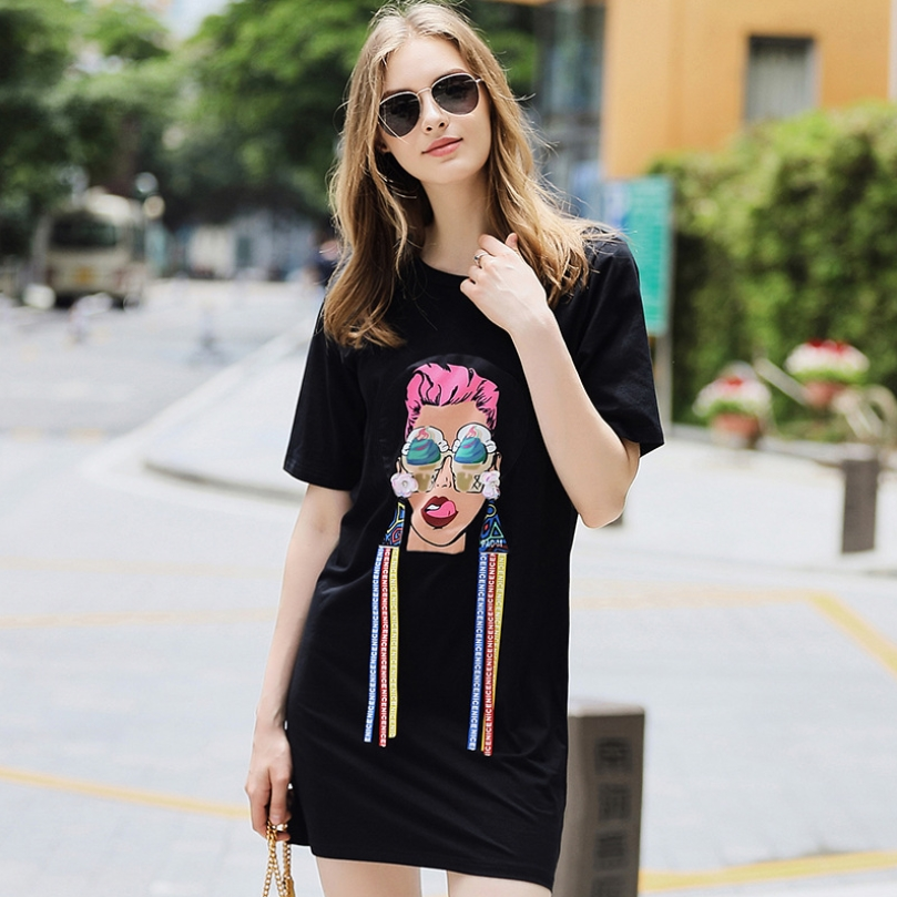 2018 spring summer cartoon characters print sequines above knee loose dress women preppy style youth ribbon patchwork dresses