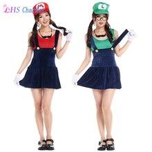 1X Super Mario Traje de la Historieta de las mujeres Cosplay Sexy Fantasia Fontanero Rojo Verde Traje de Mario Bros Super Mario Bros Disfraces Adultos