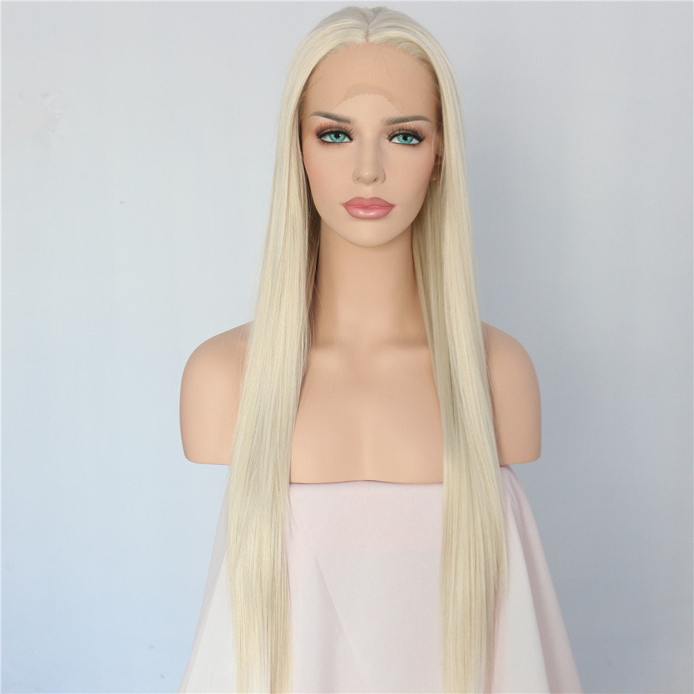 BeautyTown Light Blonde Color Heat Resistant Hair Hand Tied Cosplay Masquerade Synthetic Lace Front Party Wig