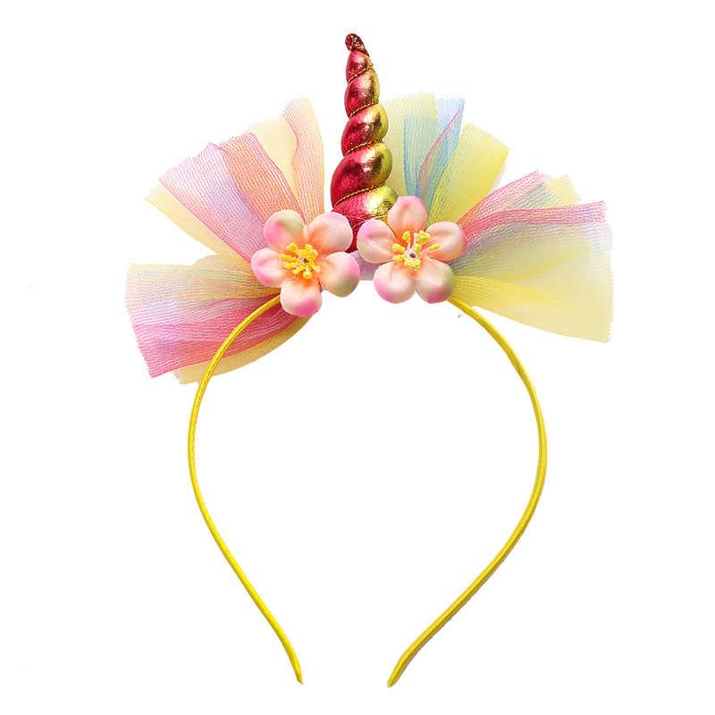 2018 New Colourful Flower Lace dream Unicorn Hairbands Cute Girls Boy  Birthday Party Headband Children Headwear Hair Accessories