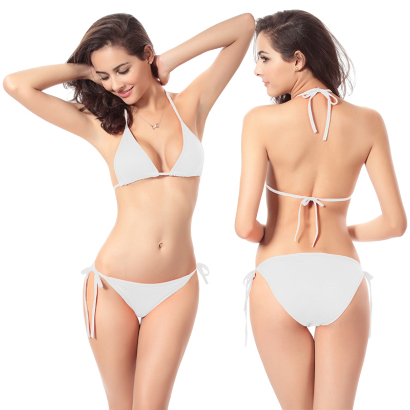 Bikini Sexy Swimsuit Swimwear Underwear And Swimwear 11 Erotic Fun 2016 Women White Halter Plus Size Swimwear Bikini Thong