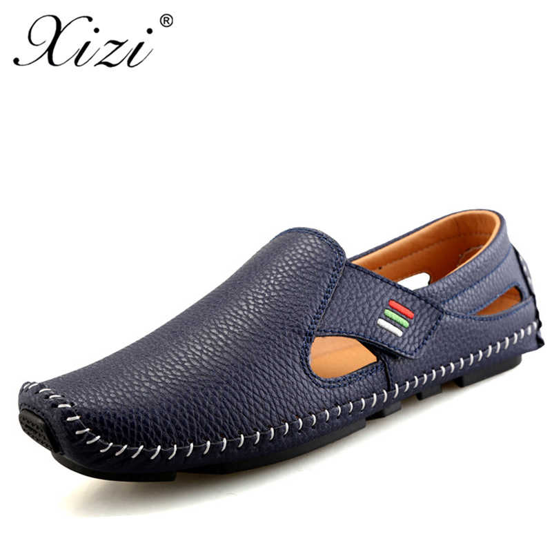 ca53ae0b414 Xizi Men s Summer Handmade Casual Genuine Leather Shoes comfortable Shoes  Sneaker Driving Boat Flats Breathable Shoes