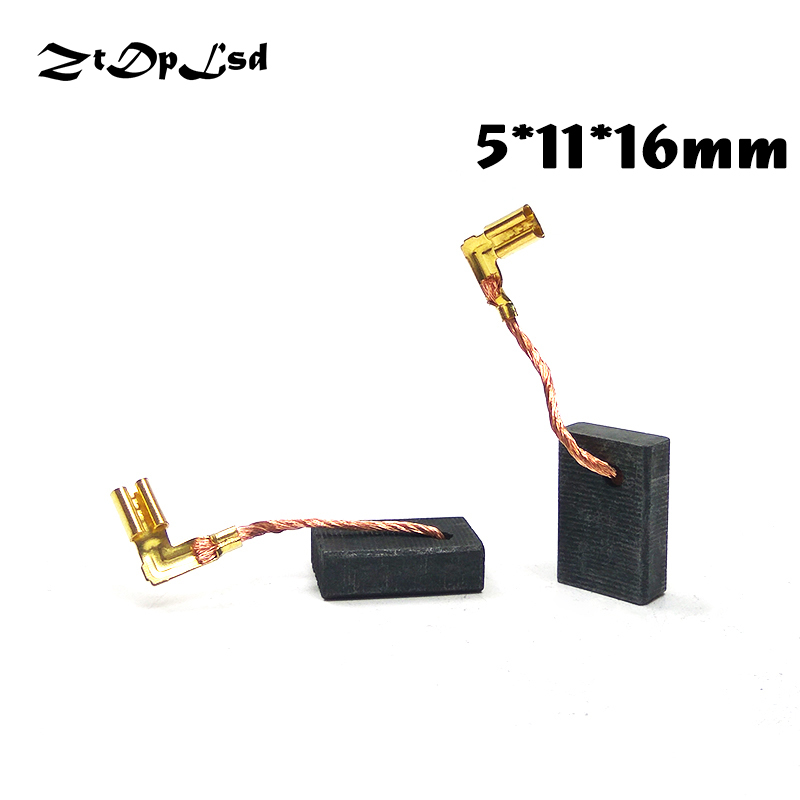 ZtDpLsd 2 Pcs/Pair 5x11x16mm Mini Drill Electric Grinder Replacement Carbon Brushes Spare Part for Electric Rotary Tool dmiotech 20 pcs electric drill motor carbon brushes 10mm 11mm 13mm 17mm 6mm 7 5mm 7mm 8mm 9mm