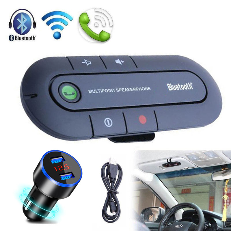 Handsfree Bluetooth Car Kit Wireless Bluetooth Stereo Speaker Phone MP3 Music Player Bluetooth Transmitter With Dual USB Charger usb