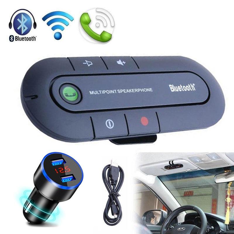 Freisprecheinrichtung Bluetooth Car Kit Drahtlose Bluetooth Stereo Lautsprecher Telefon MP3 Musik Player Bluetooth Sender Mit Dual USB Ladegerät