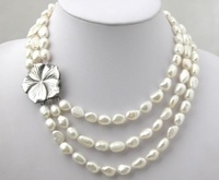 simple monroe m 3rows 8 9mm Natural White Akoya Beads necklace Wedding silver jewelry
