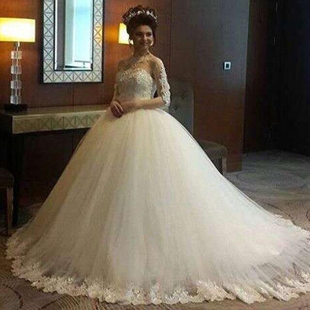A Line White Tulle Wedding Dress 2017 Arabic Bridal: High Sheer White Lace Long Sleeve Princess Wedding Dresses