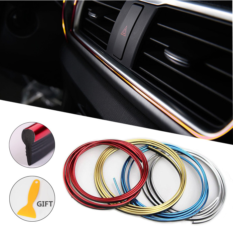 5M Cars Interior Decoration Strips Moulding Trim Dashboard Door Edge Universal For Car Auto Accessories In Car Styling