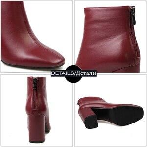 Image 5 - ISNOM en cuir véritable bottines 2020 bout carré bottes en caoutchouc équitation chaussures pour femmes dames gros talon haut fermeture éclair bottes dhiver