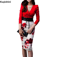 Sexy Women Red Elegant Long Sleeve Slim Bodycon Dress Autumn Fashion V Neck Party Dresses Two