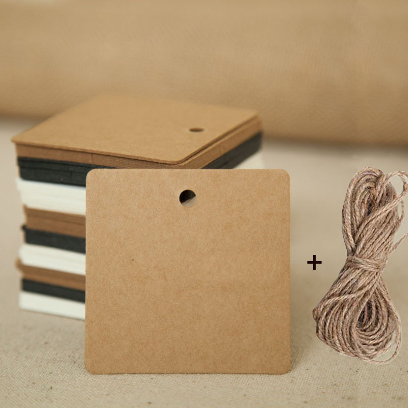 100pcs Brown Kraft Tags Paper Gift Wedding Scallop Label Blank Luggage Tag