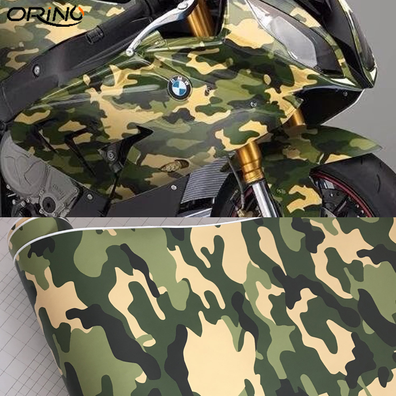 50cmx300cm Adhesive Army Military Green Camo Vinyl Film Jungle Camouflage Car Wrap Foil Scooter Motorcycle Decal Sticker