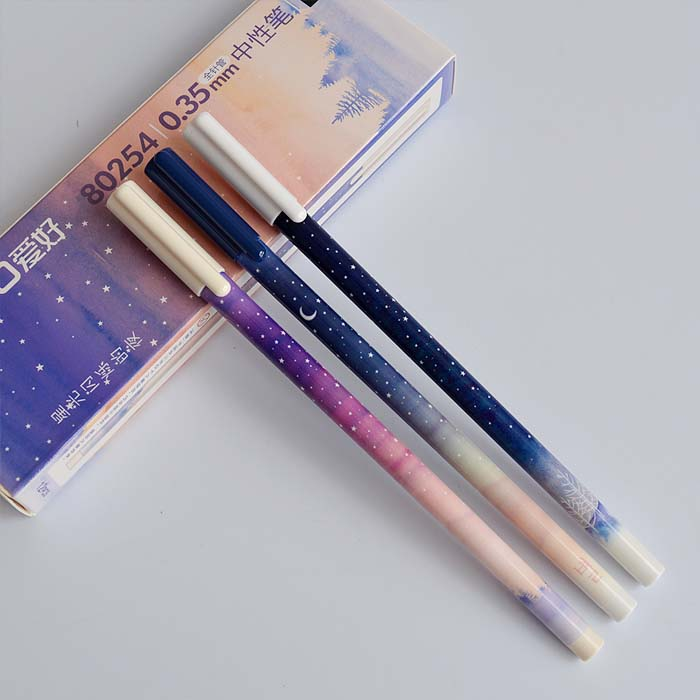 3pcs Fantastic Galaxy Star Sky Long Handle Gel Pen Writing Signing Pen School Office Supply Student Stationery Kids Rewarding