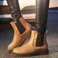 Nueva Llegada 2017 Otoño Invierno de La Manera Señoras de Las Mujeres de Baja Chunky Heel Slip-On Bottine Martin Bota Zapatos de Mujer Botines de tobillo G294