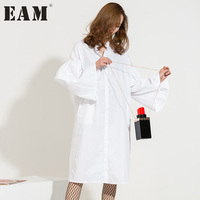 EAM 2017 New Fashion Spring Summer Solid Dolor Flounced Stitching Cloth Long Sleeves Split Hem