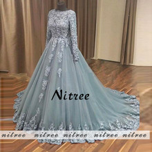 Muslim Ball Gown Evening Dresses 2018 New Robe de soiree Abiye Dubai Lace Formal Prom Gowns For Weddings Abendkleider Galajurk