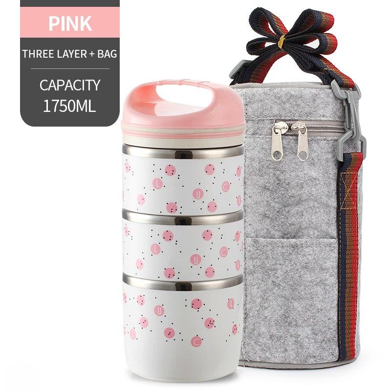 Милые детские Термальность Коробки для обедов герметичность Нержавеющая сталь Bento box для детей Портативный Пикник школа Еда контейнер Box - Цвет: NO. Pink 3 With Bag