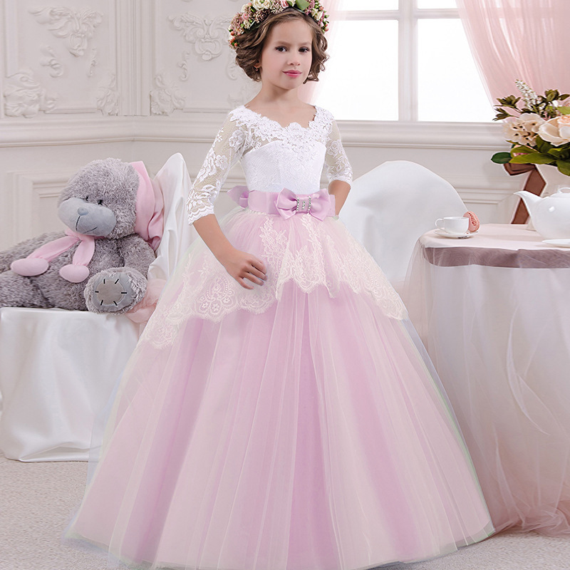 Childrens Dresses High-grade lace Girls Flowers Party Costume For Kids Girl Pageant Dance Ball Gown Princess Prom Birthday Dress