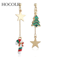 Rhinestone Enamel Xmas Tree Snowman Walking Stick Asymmetry Drop Earrings Star Charm Brincos For Women Christmas Jewelry Gift