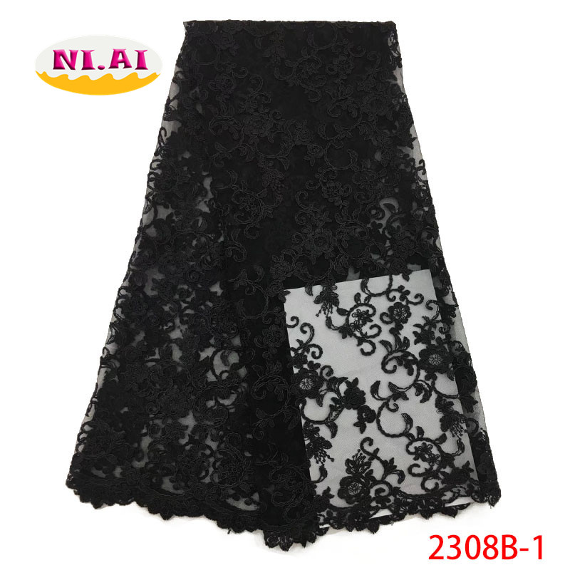 African Wedding Fabric Black 3D Lace Fabric 2018 High Quality Embroidery Appliques Lace MR2308B