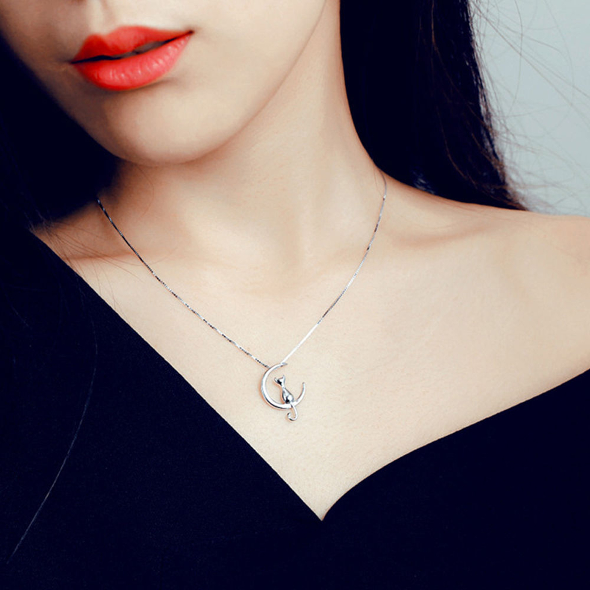 Fashion Cat Moon Pendant Necklace Charm Silver Gold Color Link Chain Necklace For Pet Lucky Jewelry