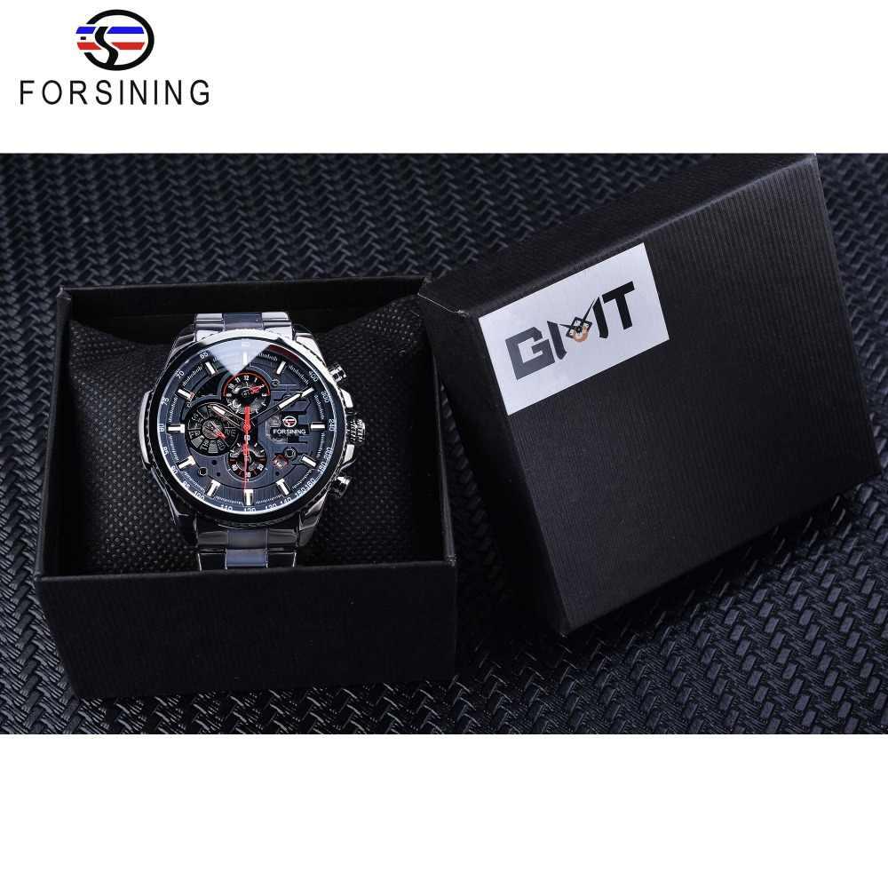 Forsining три циферблата календаря дисплей Черный Нержавеющая сталь Мужские автоматические наручные часы лучший бренд класса люкс военные спортивные мужские часы